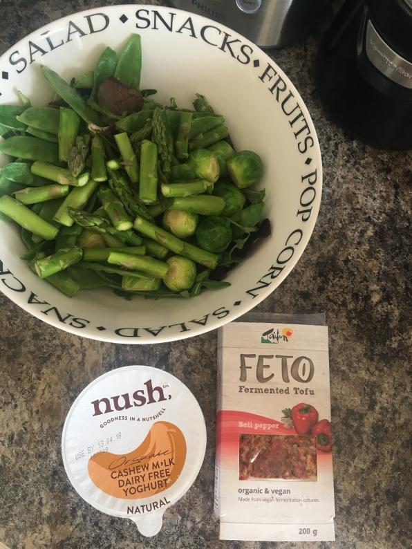 Steamed vegetables, fermented tofu and push yogurt.
